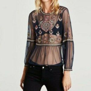 Zara Basic Special Collection Embroidered Top NEW